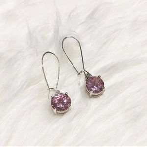 Pink Rhinestone Dangle Drop Earrings